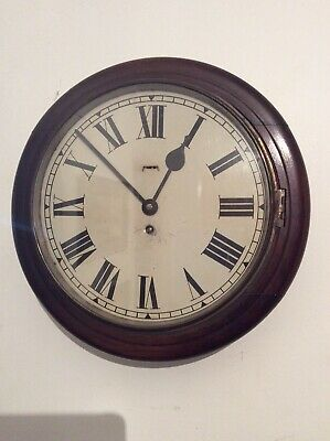 Smith's Empire Mahogany School / Station / Office Round Dial Clock