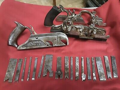 Vintage Stanley No. 45  & 78 Woodworking Plane with 17 Various Blades used tools