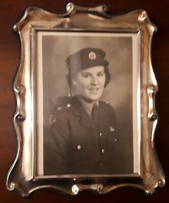 Hallmarked silver photo frame image WW2 Auxiliary Territorial Service signed KC