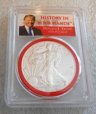 2017 American Silver Eagle Trump History In Your Hands First Strike - Pcgs Ms69
