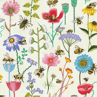 Bee Haven Floral Off White Background Cotton Fabric 1/2 YARD