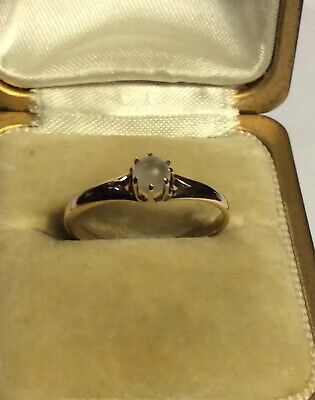 Gorgeous Antique Victorian Art Deco .585/14K Gold Solitaire MOONSTONE RING