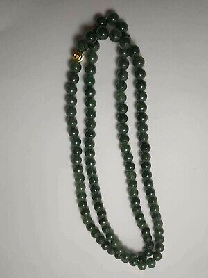 Grade A 100% Natural Genuine Burma Jadeite Jade Beaded Necklace A#076