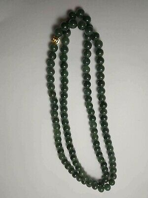 Grade A 100% Natural Genuine Burma Jadeite Jade Beaded Necklace A#077