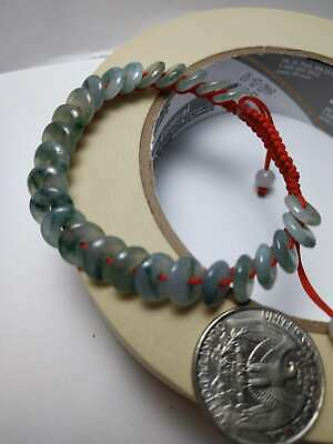 100% Natural Burma Jadeite Jade adjustable woven safety buckle bracelet A#082