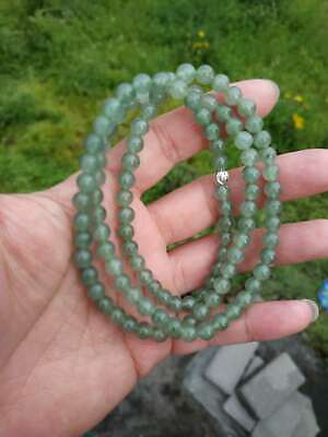 Grade A 100% Natural Genuine Burma Jadeite Jade Beaded Necklace #1862