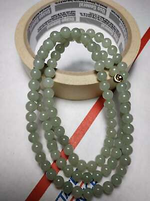 Grade A 100% Natural Genuine Burma Jadeite Jade Beaded Necklace #1868
