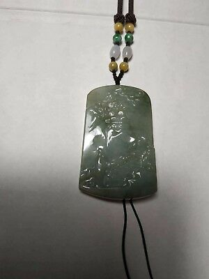 Grade A 100% Natural Genuine Burma Jadeite Jade Scenery Pendant Necklace #89