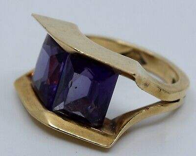 Vintage mid century modernist Antonio Pineda yellow Gold 14k & Amethyst Ring