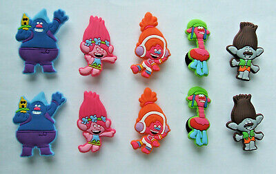 SHOE CHARMS (R5) - CARTOON CHARACTERS inspired by TROLLS (10TRL) pack of 10