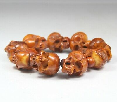Chinese Exquisite Hand-carved skull carving antlers Bracelets