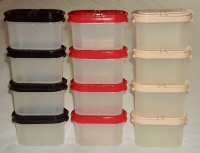 12 Tupperware Small Spice Containers Shakers Red, Black, and Beige Lids!  VGC!!