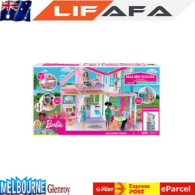 Kids Portable Barbie Malibu Two-Story Doll House Townhouse Playset Toy For Child