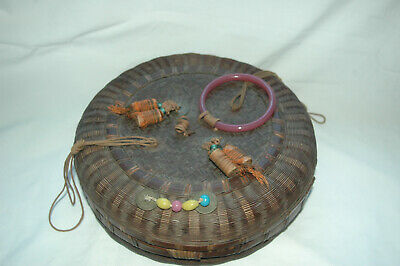 Vintage Chinese Asian Sewing Basket Woven Bamboo Glass Ring & Beads Coins