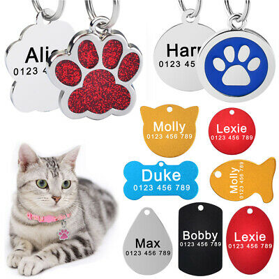 Personalized Dog Cat Tags Pet Free Engraved ID Name Number Stainless Steel Paw