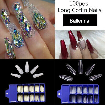 100PCS BALLERINA FALSE Nail Art Tips French Flat Full Cover