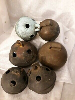 Antique Early 1900s 6 Solid Brass Sleigh Bells Christmas Holiday Decor