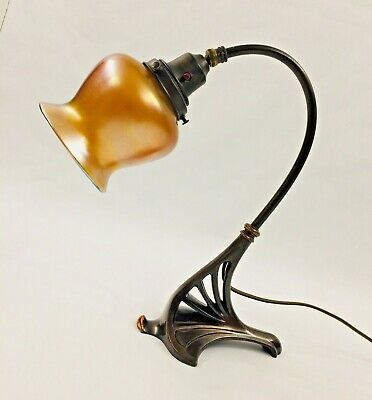 Rare Antique Art Deco Bronze Lamp with Signed Favrile Quezal Shade