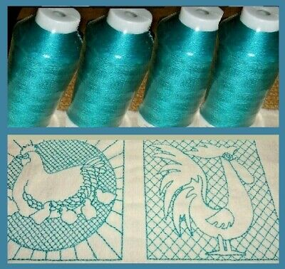 LOT of 4 QUALITY MACHINE EMBROIDERY THREAD SEALED 40 WT Turquoise 5000 M each