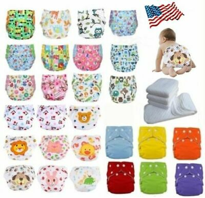 Adjustable Reusable Baby Washable Cloth Diaper Nappies Lot10 Diapers +10 Inserts