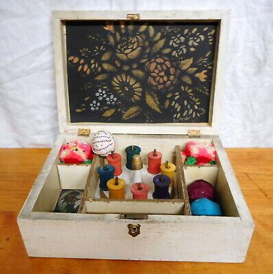 Antique Late 19th C Folk Art Sewing Box Folky Spool Holder & Old Contents