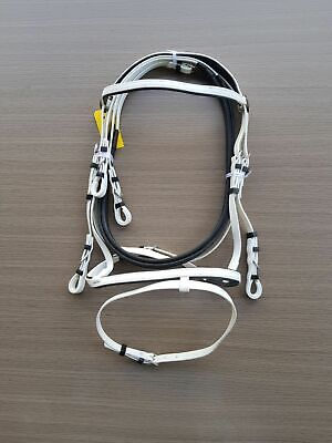 PVC-White-Black-Eventing Bridle With Matching Pimple Grip Reins