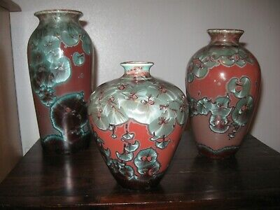 Crystalline Glaze - JON PRICE  3 Piece Chinese Copper Red  - Reduction Fire RARE