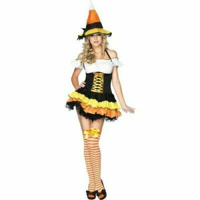 Sexy Candy Corn Witch Costume Halloween Cosplay Womens Large Complete Set