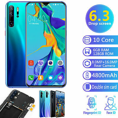 "6.3"" inch P36 Pro Android 9.1 Smart Mobile Phone 6GB+128GB Face Unlocked 4800mAh"