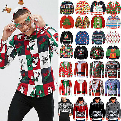 Mens Christmas Ugly Sweatshirt Tops Hoodie Jumper Xmas Party Sweater T-shirt Tee