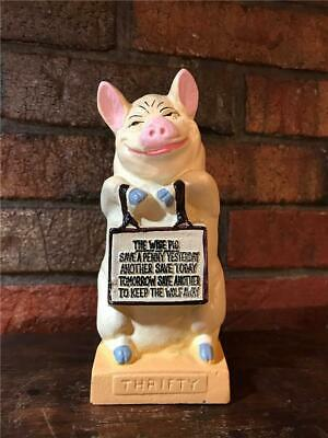 """Antique Hubley Cast Iron Still Bank """"Thrifty The Wise Pig"""" 1930-1936"""