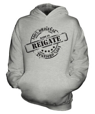 Made In Reigate Unisex Kids Hoodie Boys Girls Children Toddler Gift Christmas