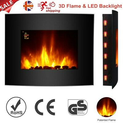 Wall Mounted Electric Fireplace Heater Fire 3D Flame Effect LED Backlit Remote A