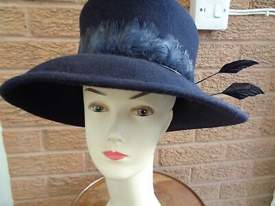 Gorgeous Philip Somerville navy felt hat with feathers in Fortnums hat box