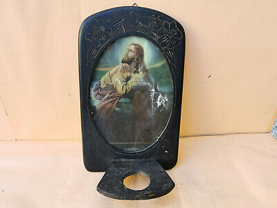 Old Antique Wooden Iconostasis Wall Hanging Icon Frame Candle Orthodox Carved