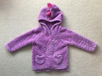 Girls Fluffy Purple Dinosaur Hoodie Pyjamas Sleepwear 2-3 Years