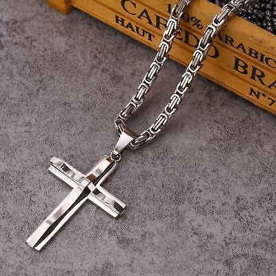 """Men Silver Color Stainless Steel Religious Cross Pendant Byzantine Necklace 22"""""""