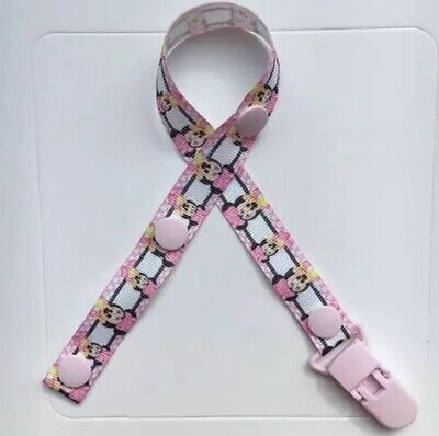 Dummy Clip Baby Soother Clips Chain Holder Pacifier Strap Pink Minnie Mouse
