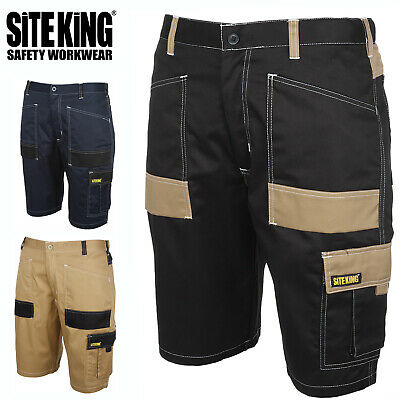 Mens Contrast Elasticated Work Shorts with Holster Pockets By SITE KING - 013