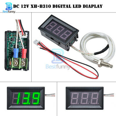 DC 12V XH-B310 Digital LED Green Diaplay Thermometer K-type M6 Thermocouple