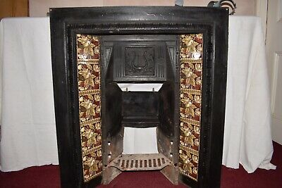 Original Antique Cast Iron Victorian Tiled Insert Fireplace