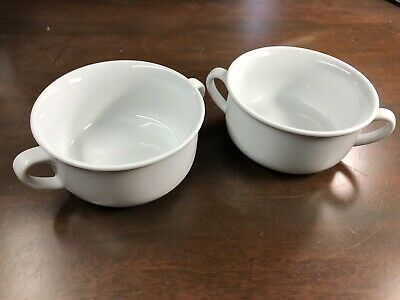 """(2) Williams-Sonoma 4.75"""" ESSENTIAL WHITE Double Handled Cereal or Soup Bowls"""