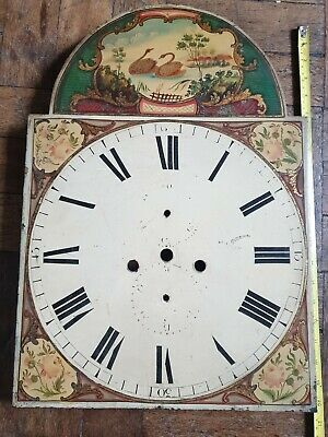 Antique Painted Grandfather Longcase Clock Dial Face 51x36 cms