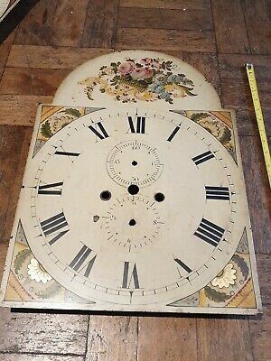 Antique Painted Grandfather Longcase Clock Dial Face 20x14 inch