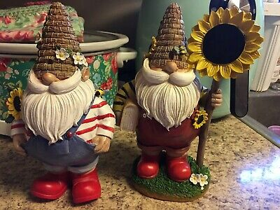 gnome statue With Sunflower (this Auction Is For Two Gnomes)