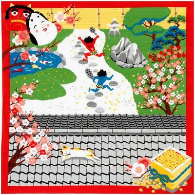 FUROSHIKI Japanese Wrapping Cloth Cotton Fabric MADE IN JAPAN 50cm Setsubun Cat