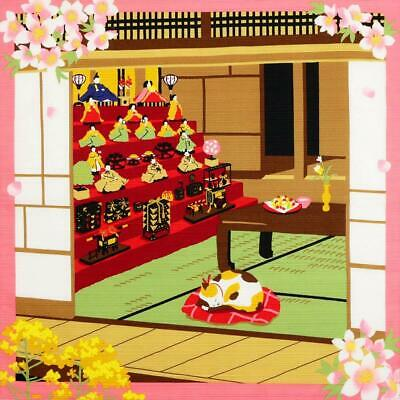 FUROSHIKI Japanese Wrapping Cloth Cotton MADE IN JAPAN 50cm Mike Cat Hina Doll