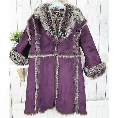 Girls MONSOON Long Coat Faux Fur Shearling Jacket Warm Winter Dress Coat 4-6 yrs