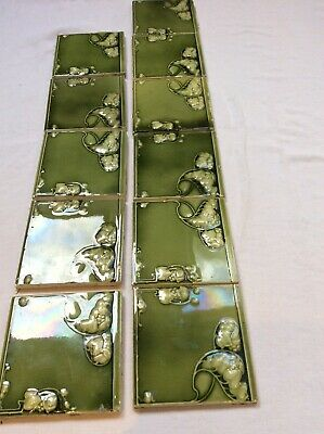 "Reclaimed Antique Majolica Type Victoria 6"" Tiles Run Of 11 Tiles"