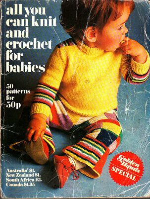 Golden Hands Knitting Pattern Booklet, Baby Knits 50 Patterns, 1972